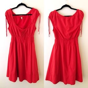 ANTHROPOLOGIE Red Cotton Peasant Dress